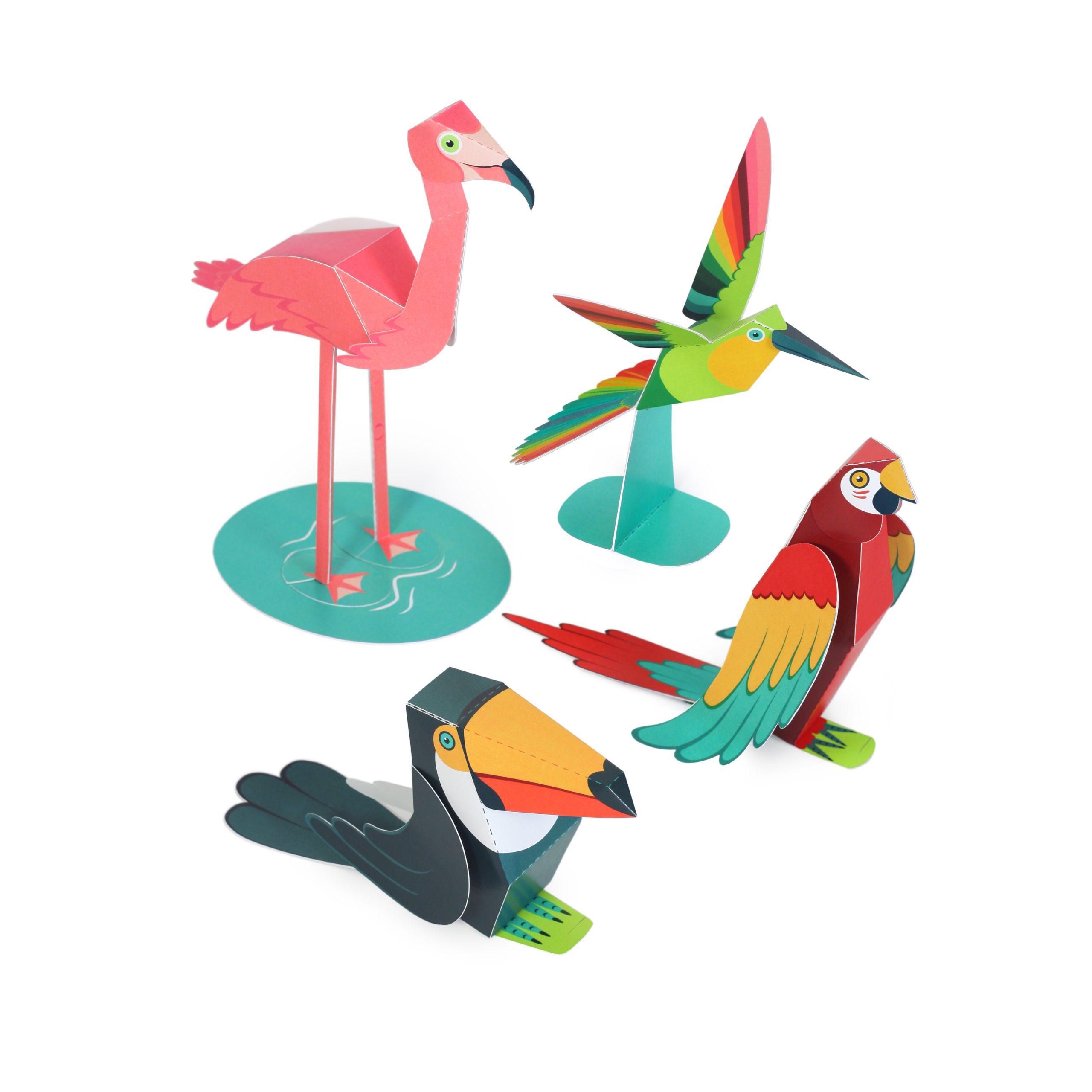 Tropical Birds Paper Toys