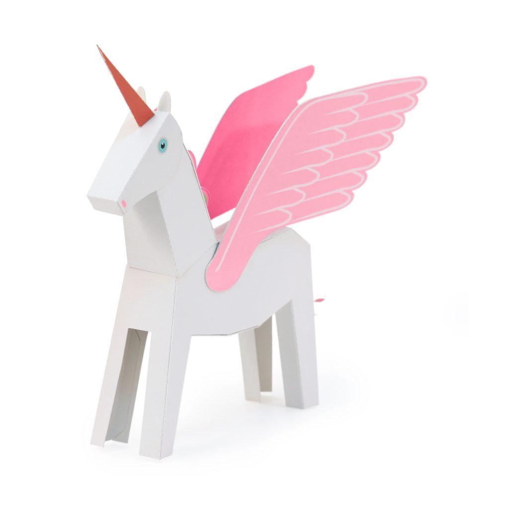 White & Pink Pegacorn Paper Toy